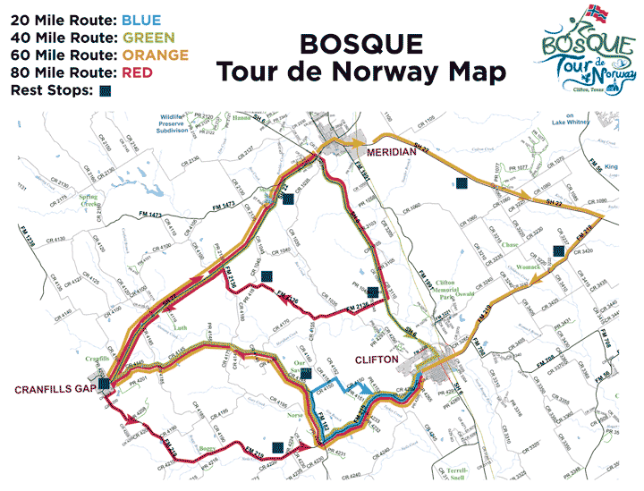 Bosque County bike routes map